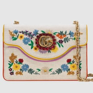 🆕💯%Auth Gucci Canvas Embroidered Shoulder Bag
